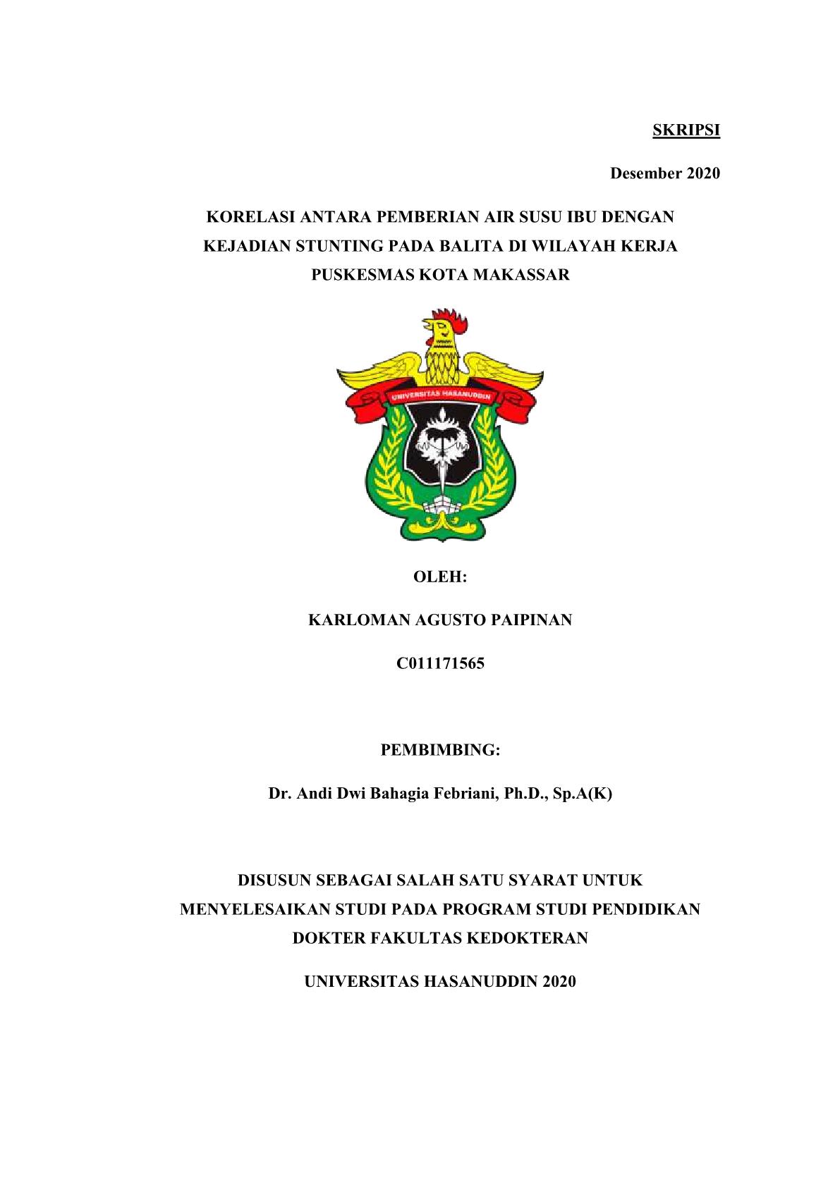 Korelasi Antara Pemberian Air Susu Ibu Dengan Kejadian Stunting Pada Balita Di Wilayah Kerja Puskesmas Kota Makassar Repository Universitas Hasanuddin