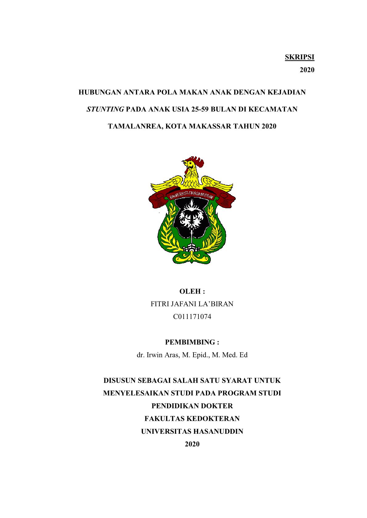 Hubungan Antara Pola Makan Anak Dengan Kejadian Stunting Pada Anak Usia 25 59 Bulan Di Kecamatan Tamalanrea Kota Makassar Tahun 2020 Repository Universitas Hasanuddin